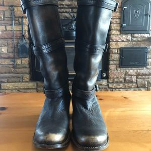"""Frye 12"""" Distressed 3 Strap Buckle Boots"""